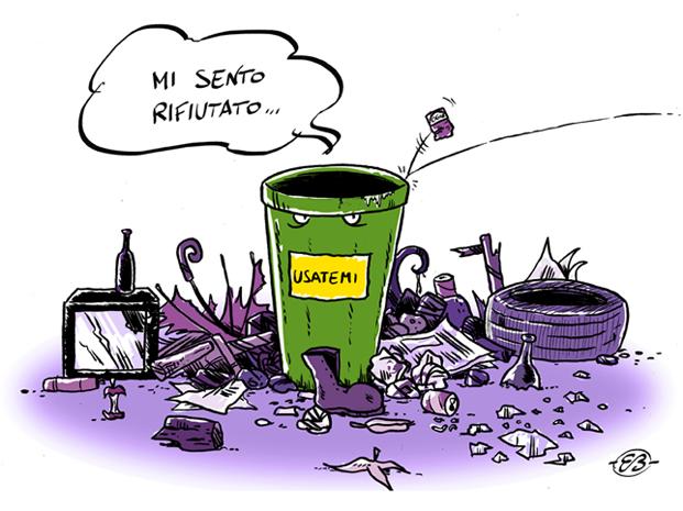 Riciclo rifiuti, il bidone abbandonato è un bidone rifiutato