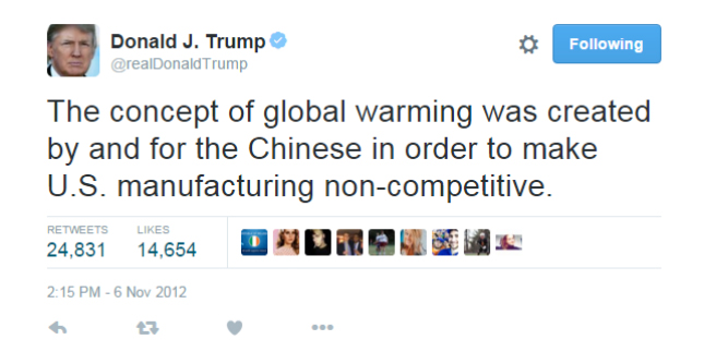 Donald Trump sui cambiamenti climatici