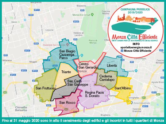 Nel Comune di Monza è in atto il censimento e il monitoraggio degli edifici per la campagna pubblica Monza città efficiente
