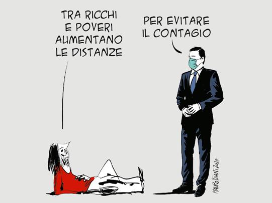 Il distanziamento sociale di Mauro Biani